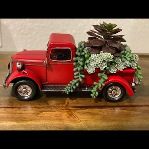 Red Truck with Faux Succulents